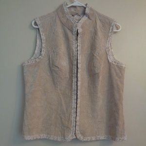Coldwater Creek Suede Leather Vest with Lace